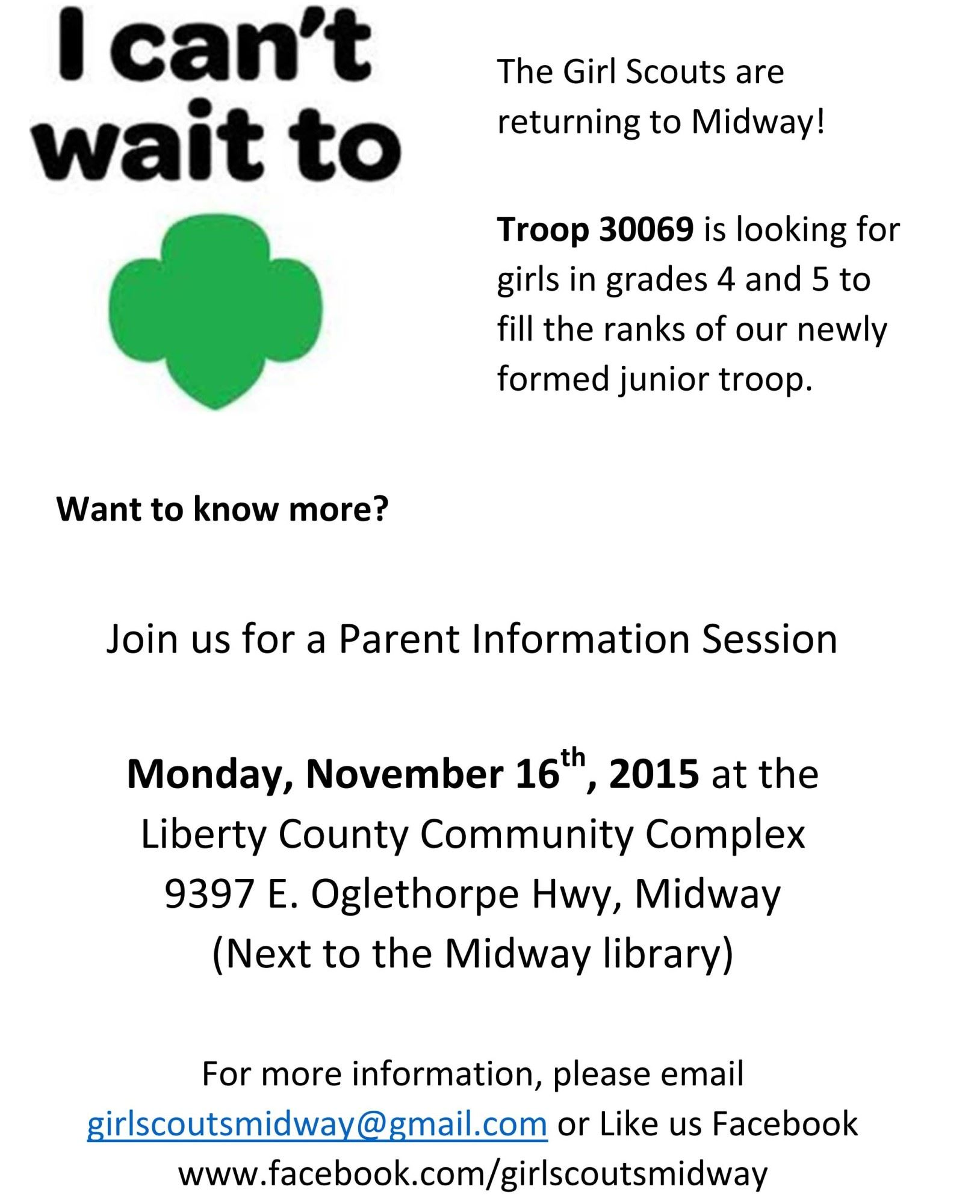 Girl Scout Troop Meeting Parent Information Sessionliberty County