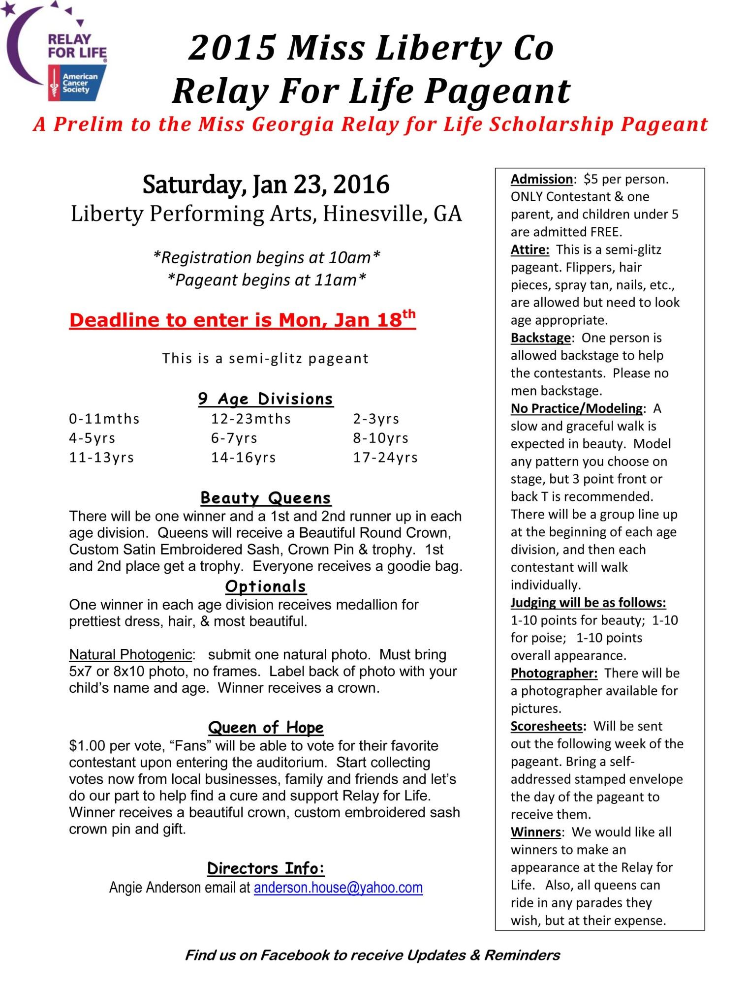 Download Application Here: Emcee Sheet 2015 Miss Liberty County Relay For  Life Pageantliberty County