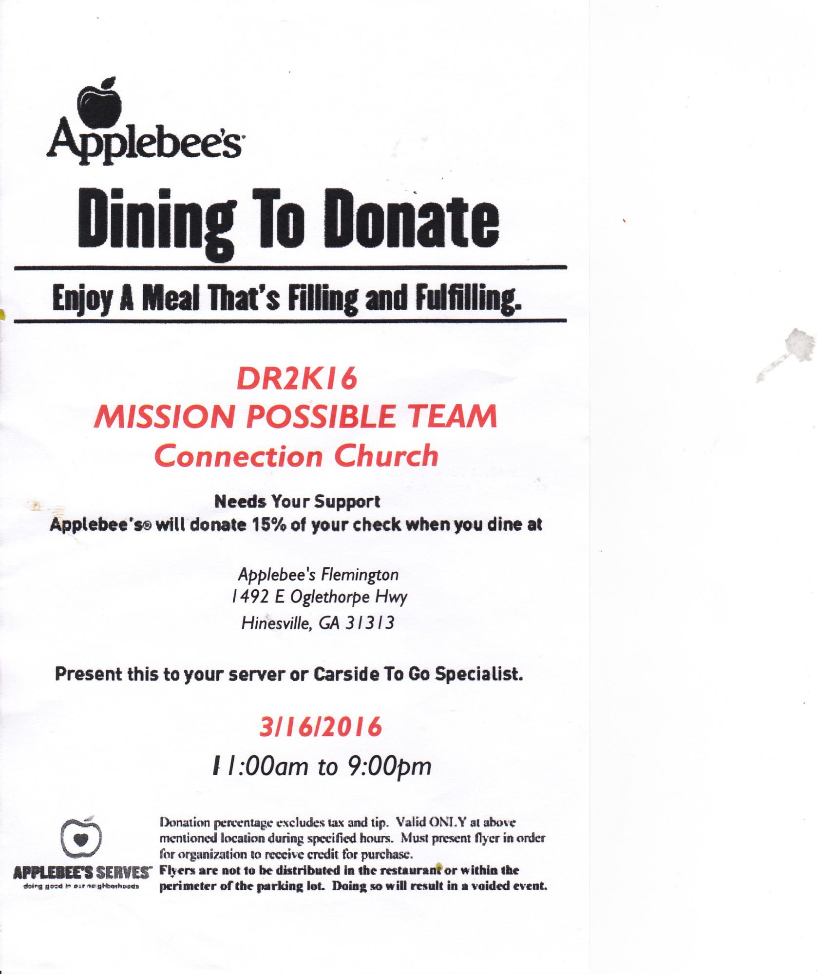 Dining to Donate- Connection Church FundraiserLiberty County ...
