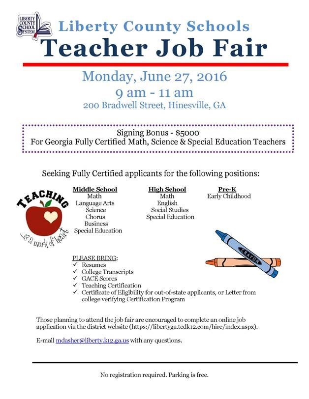 Liberty County Schools Teacher Job Fairliberty County Georgia