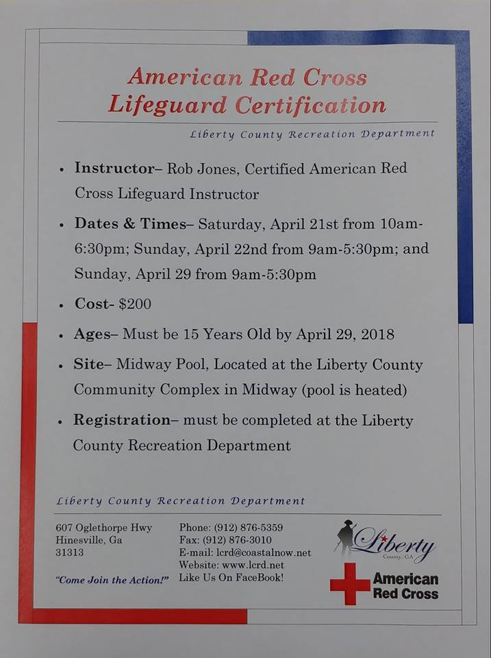 American Red Cross Lifeguard Certificationliberty County Georgia