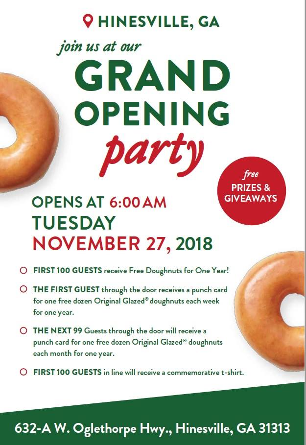 Krispy Kreme Hinesville Opening Day Announced | Liberty County ... on walmart location map, cold stone location map, t.g.i. friday's location map, quiznos location map, cici's pizza location map, petsmart location map, big lots location map, ace hardware location map, marshalls location map, bonefish grill location map, gamestop location map, dairy queen location map, mcdonalds location map, pf changs location map, popeyes location map, jack in the box location map, petco location map, del taco location map, church's chicken location map, lane bryant location map,