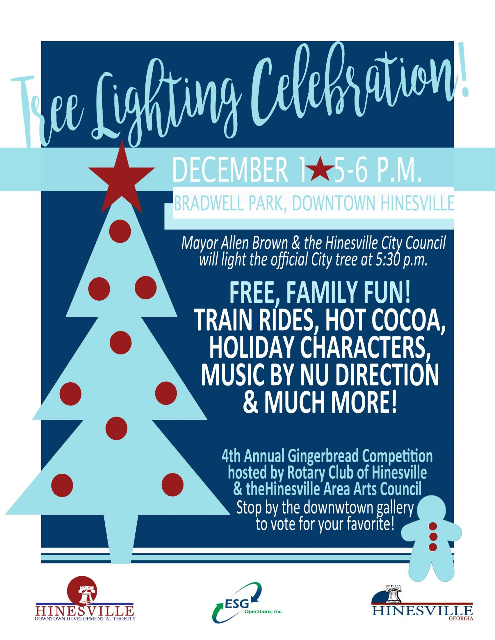 The City Of Hinesville Is Hosting A Tree Lighting Celebration With Train Rides Hot Cocoa Served By Vietnam Veterans Popcorn