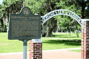 Historical marker posted outside of Dorchester Academy in Liberty County, Georgia.