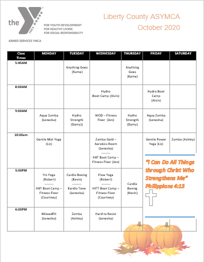 the YMCA October calendar