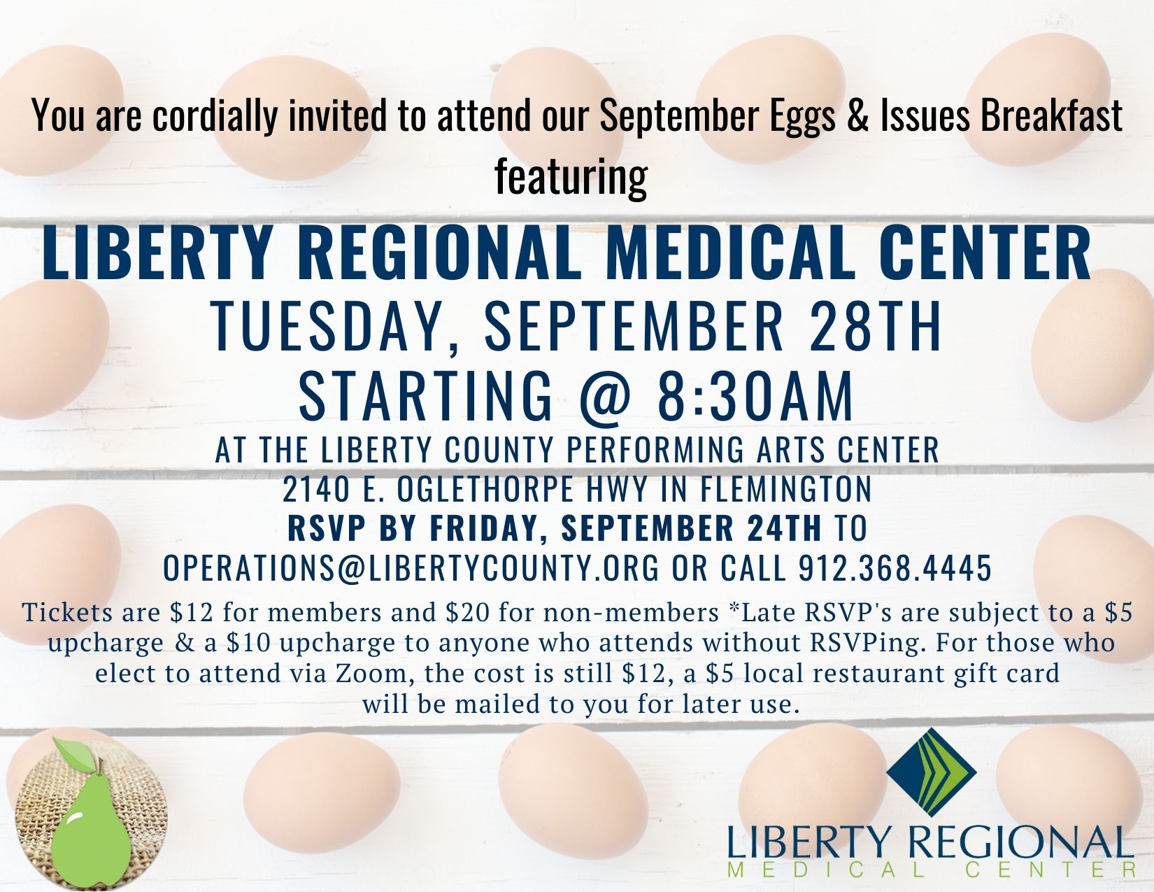 Eggs and Issues invitation for Liberty Regional Medical Center.