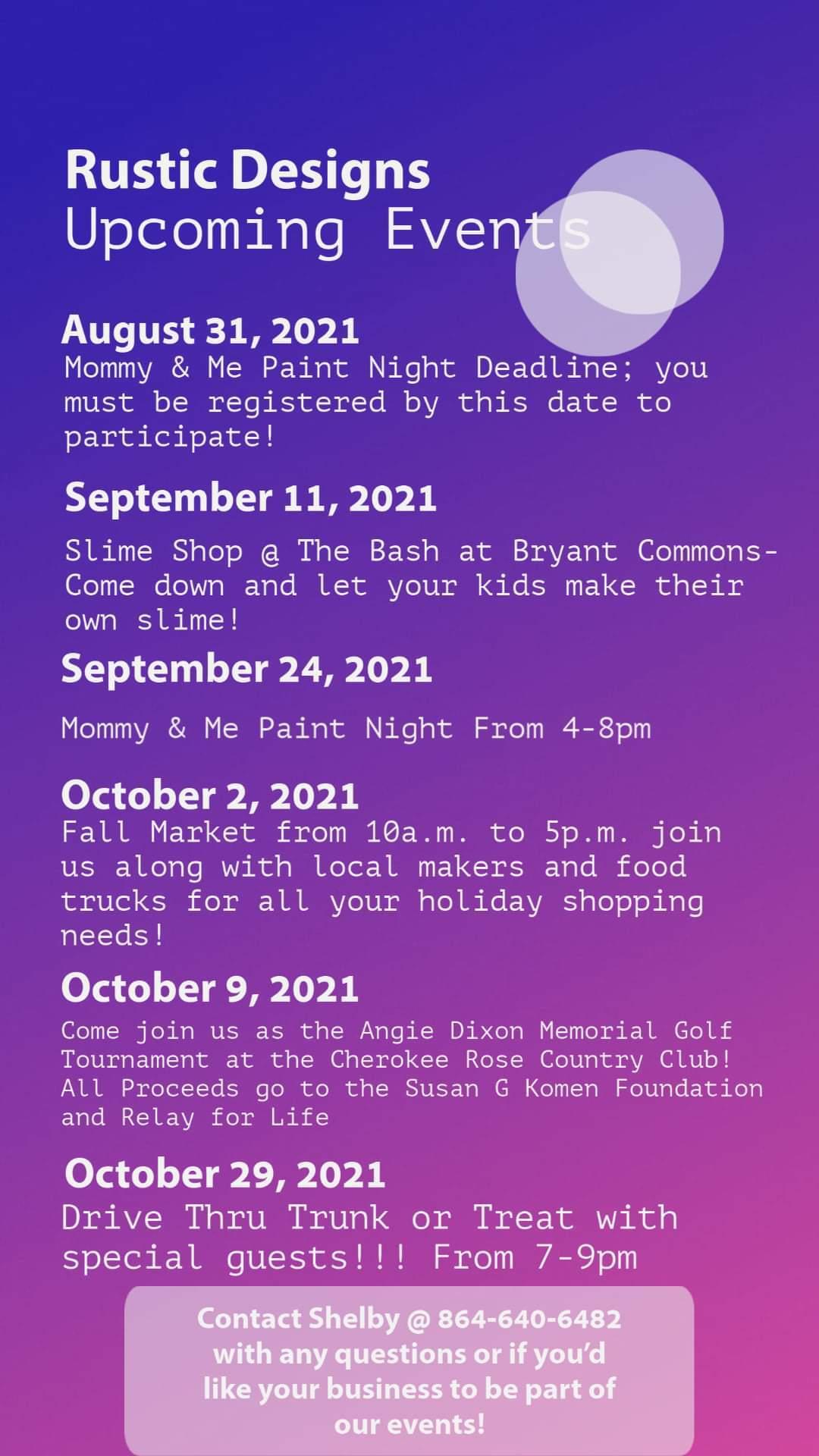 Rustic Designs Event Calendar