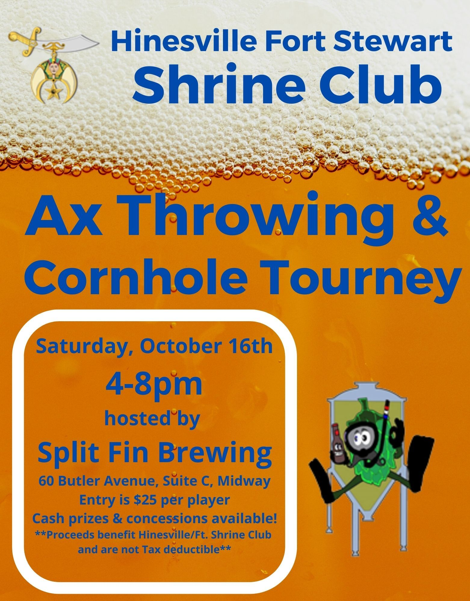 Hinesville Fort Stewart Shrine Club Ax Throwing and Cornhole Tourney